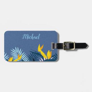 Étiquette À Bagage Monogramme tropical bleu moderne de paradis
