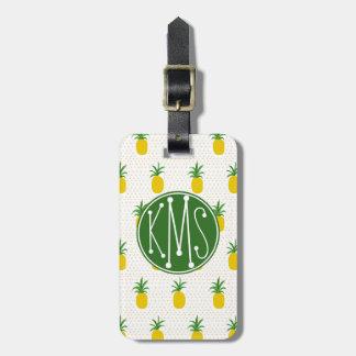 Étiquette À Bagage Monogramme tropical d'or des ananas  