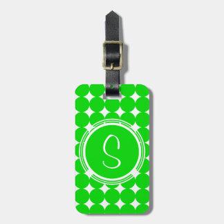 Étiquette À Bagage Monogramme vert de point de polka