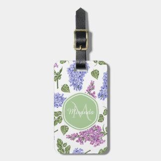 Étiquette À Bagage Monogramme vert en pastel floral lilas de lavande
