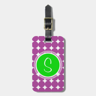 Étiquette À Bagage Monogramme vert et pourpre de point de polka