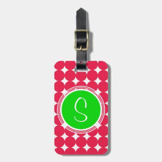 Étiquette À Bagage Monogramme vert et rouge de point de polka