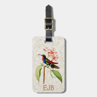 Étiquette À Bagage Monogramme vintage d'art de colibri de saphir