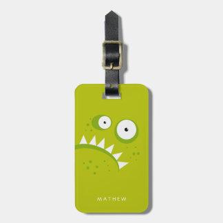 Étiquette À Bagage Monstre vert effrayant drôle fâché grincheux