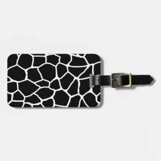 Étiquette À Bagage Motif animal d'impression noir et blanc de girafe