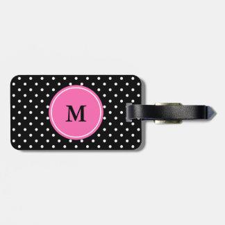 Étiquette À Bagage Motif blanc et noir de monogramme de polka de poin