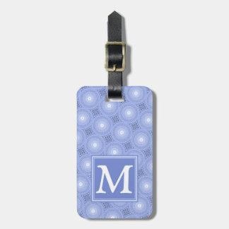 Étiquette À Bagage Motif bleu de cercles de monogramme