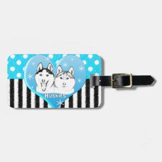 Étiquette À Bagage Motif bleu de chiens de traîneau