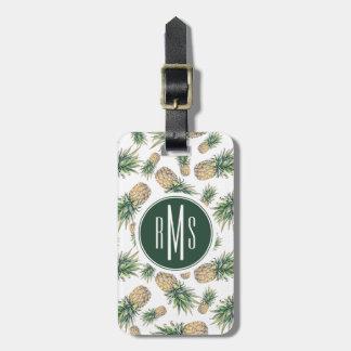 Étiquette À Bagage Motif d'ananas d'aquarelle