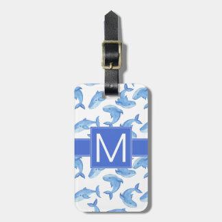 Étiquette À Bagage Motif de baleine bleue d'aquarelle