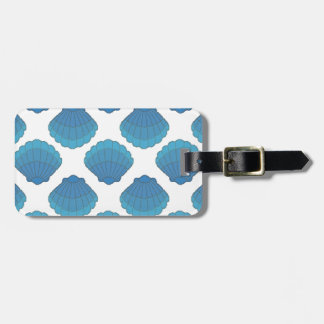 Étiquette À Bagage Motif de mosaïque bleu de coquillage