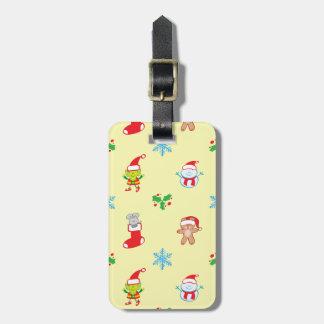 Étiquette À Bagage Motif de Noël de souris, de bonhomme de neige, de