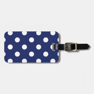 Étiquette À Bagage Motif de point de polka de bleu marine et de blanc