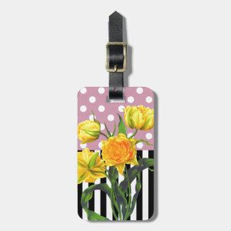 Étiquette À Bagage motif de point jaune de polka de tulipe