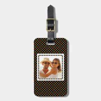 Étiquette À Bagage Motif de point lumineux de polka de photo faite