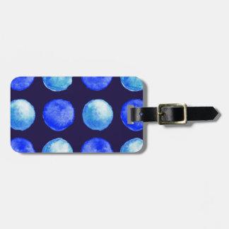 Étiquette À Bagage Motif de points d'aquarelle bleue d'hiver grand
