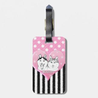 Étiquette À Bagage Motif de rose de chiens de traîneau