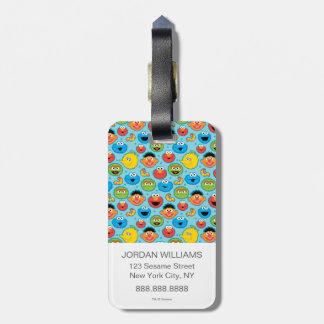Étiquette À Bagage Motif de visages de Sesame Street sur le bleu