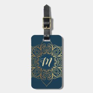 Étiquette À Bagage Motif et monogramme de damassé de mandala d'or