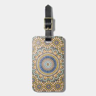 Étiquette À Bagage Motif géométrique de tuile, Maroc