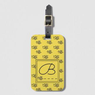 Étiquette À Bagage Motif jaune d'abeilles d'été