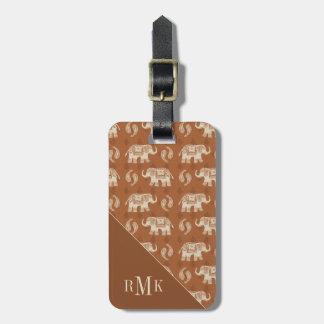Étiquette À Bagage Motif orange de caravane d'éléphant