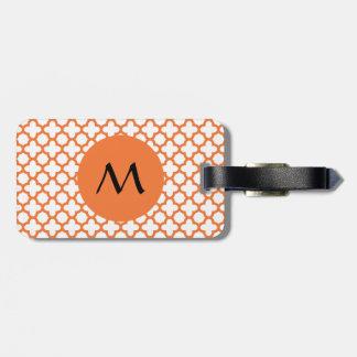 Étiquette À Bagage Motif orange de Quatrefoil de monogramme