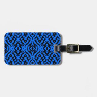 Étiquette À Bagage Motif tribal bleu de formes