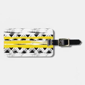 Étiquette À Bagage Motif tribal de rayures jaunes blanches noires