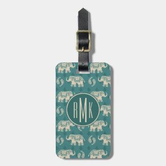 Étiquette À Bagage Motif turquoise de caravane d'éléphant