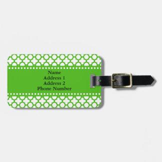 Étiquette À Bagage Motif vert de Kelly Quatrefoil
