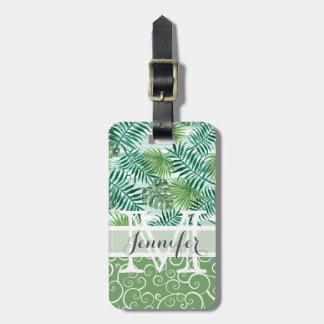 Étiquette À Bagage Motif vert tropical de feuilles de palmier de