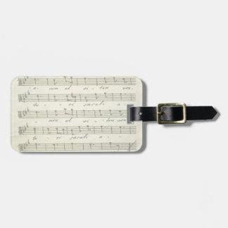 Étiquette À Bagage Musique de feuille vintage, illustration musicale