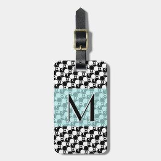 Étiquette À Bagage Noir/blanc/Aqua géométrique, monogramme,