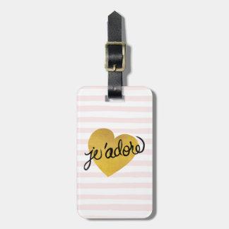 Étiquette À Bagage Noir de la citation   de J'adore et coeur d'or