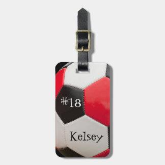 Étiquette À Bagage Noir, rouge et blanc, étiquette de sac du football
