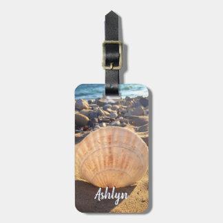 Étiquette À Bagage Nom de coutume de photo de coquillage de plage