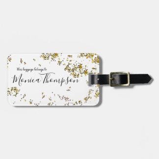 Étiquette À Bagage nom manuscrit + l'or éclaboussé pointille féminin