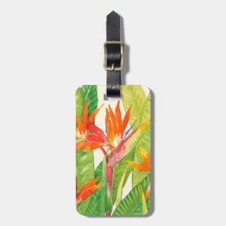 Étiquette À Bagage Oiseau des fleurs   du paradis tropical