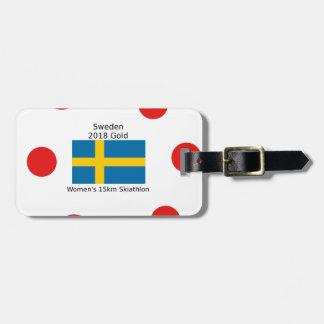 Étiquette À Bagage Or 2018 de la Suède - 15km Skiathlon des femmes