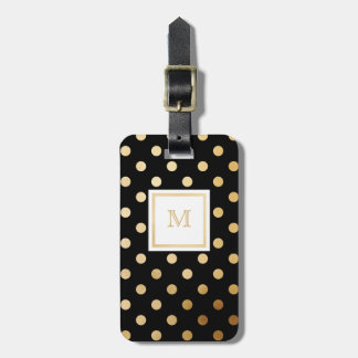 Étiquette À Bagage Or et étiquette noire de bagage de point de polka