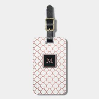 Étiquette À Bagage Or rose et étiquette blanche de bagage de