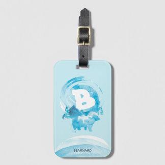 Étiquette À Bagage Ours et montagne bleus personnalisés d'aquarelle