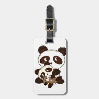 Étiquette À Bagage Ours panda et bébé