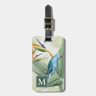 Étiquette À Bagage Palmettes avec l'oiseau bleu