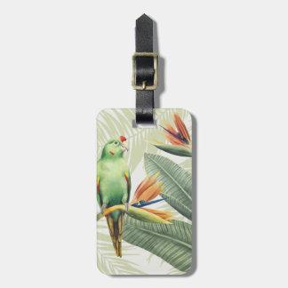 Étiquette À Bagage Palmettes avec l'oiseau vert