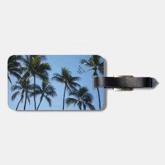 Étiquette À Bagage Palmiers dans l'étiquette de bagage de ciel bleu