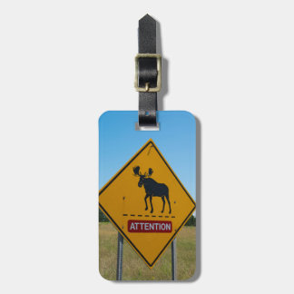 Étiquette À Bagage Panneau d'avertissement d'orignaux