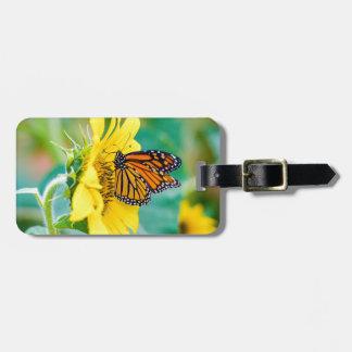 Étiquette À Bagage Papillon sur un tournesol
