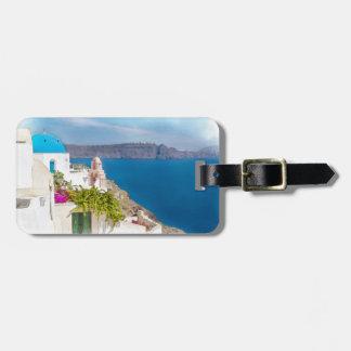 Étiquette À Bagage Paradis Grec. Peinture d'aquarelle de Santorini